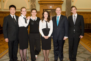 Prime Minister John Key with the NZ Schools' Debating Team